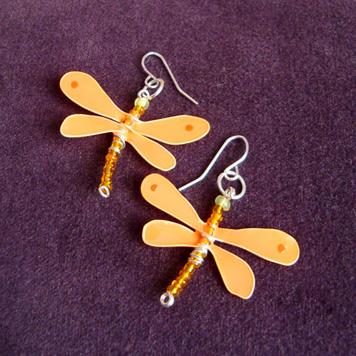 Kolczyki Ważki Pomarańczowe