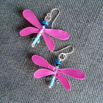 Kolczyki Ważki Różowo Błękitne