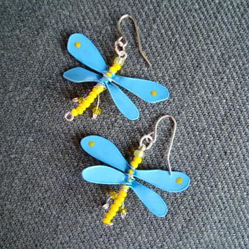 Kolczyki Ważki Niebiesko Żółte