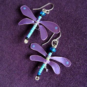 Kolczyki Ważki Fioletowo Błękitne