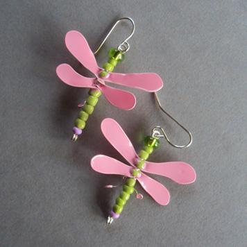 Kolczyki Ważki Różowo Zielone