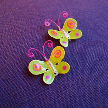 Kolczyki Motylki Zielone