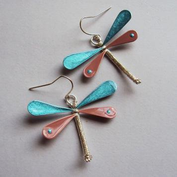Kolczyki Ważki Beżowo Niebieskie