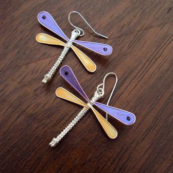 Kolczyki Ważki Fioletowo Beżowe