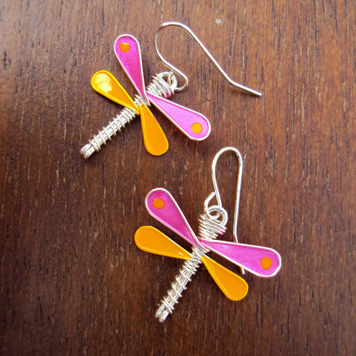 Kolczyki Mini Ważki Różowo Żółte