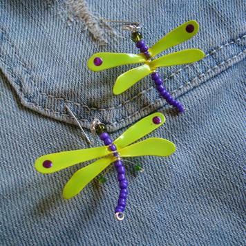 Kolczyki Ważki Fioletowo Jaskrawe Żółte