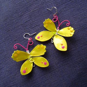 Kolczyki Motyle Cytrynki Żółte