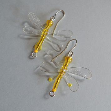 Kolczyki Ważki Żółte