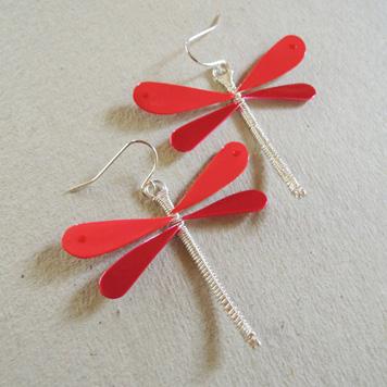 Kolczyki Ważki Czerwone