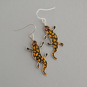 Kolczyki Salamandry Plamiste