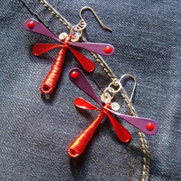 Kolczyki Ważki Czerwono Fioletowe