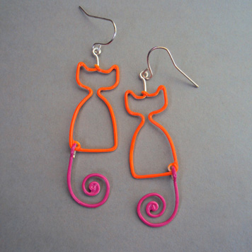 Kolczyki Koty Pomarańczowo Różowe