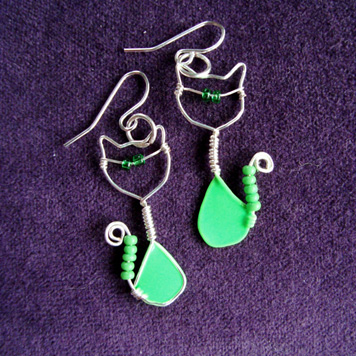 Kolczyki Kotki Zielone