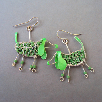 Kolczyki Zielone Jamniki