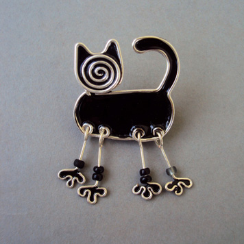Broszka Kot Czarny