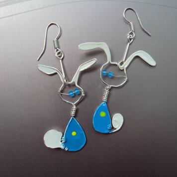 Kolczyki Króliki Niebieskie