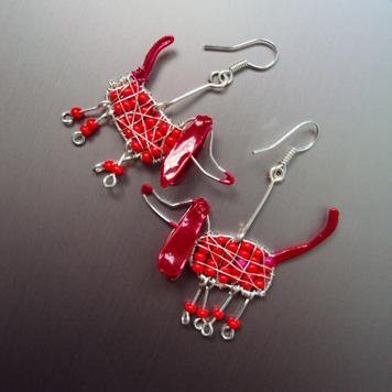 Kolczyki Pieski Czerwone