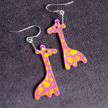 Kolczyki Żyrafy Różowe