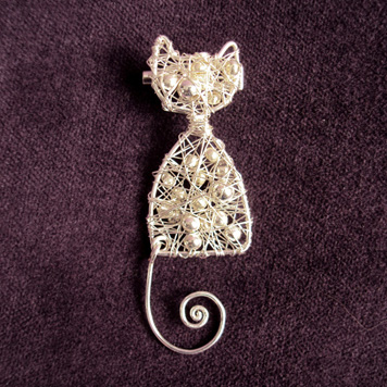 Broszka Kot Srebrny