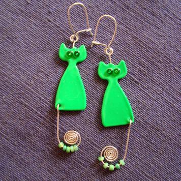 Kolczyki Koty Zielone