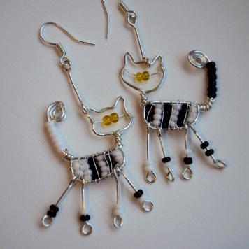 Kolczyki Koty Biało Czarne