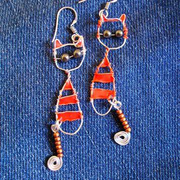 Kolczyki Kotki w Paski Pomarańczowe
