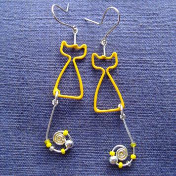 Kolczyki Koty Żółte