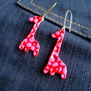 Kolczyki Żyrafy Różowo Czerwone