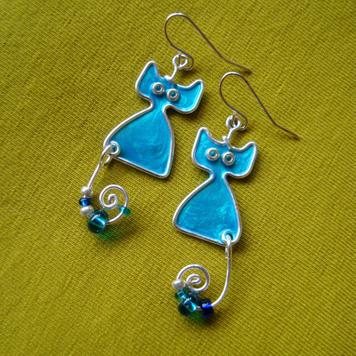 Kolczyki Kotki Błękitne