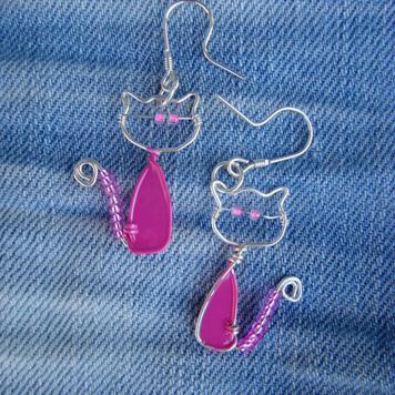 Kolczyki Koty Różowe