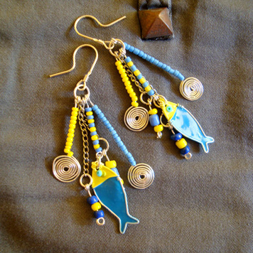 Kolczyki Rybki Niebieskie