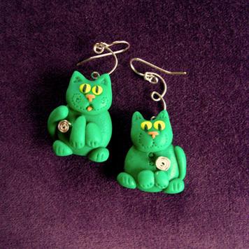Kolczyki Kotki Zielone Parka