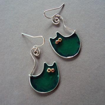 Kolczyki Koty Księżycowe Zielone