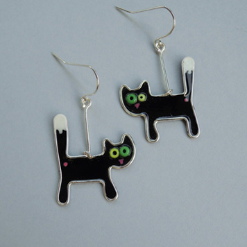 Kolczyki Czarne Koty Przerażone