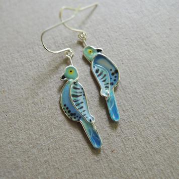 Kolczyki Papużki Faliste Błękitne