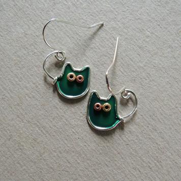Kolczyki Kotki Księżycowe Zielone