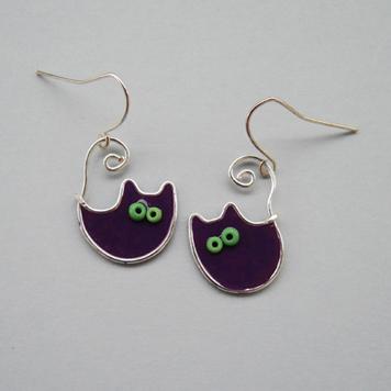 Kolczyki Koty Fioletowe Księżycowe