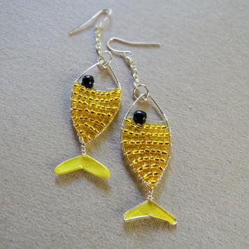 Kolczyki Ryby Żółte