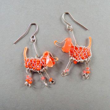 Kolczyki Pomarańczowe Jamniki