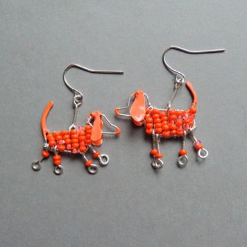 Kolczyki Jamniki Pomarańczowe