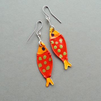 Kolczyki Ryby Pomarańczowe w Kropki