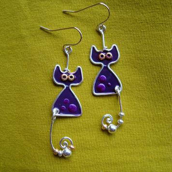 Kolczyki Koty Fioletowe