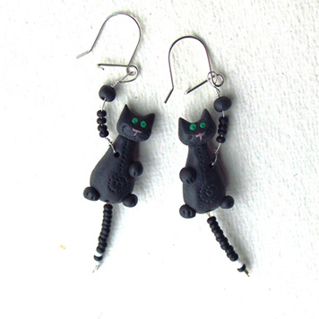 Kolczyki Kotki Czarne