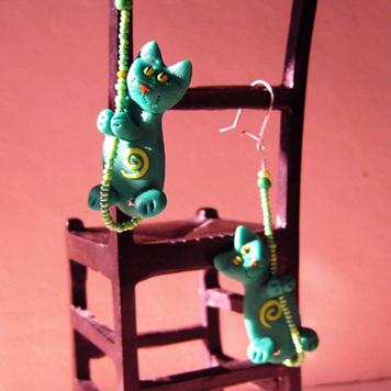 Kolczyki Kotki Fimo Zielone