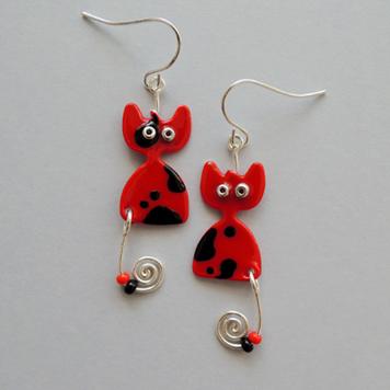 Kolczyki Kotki Czerwone