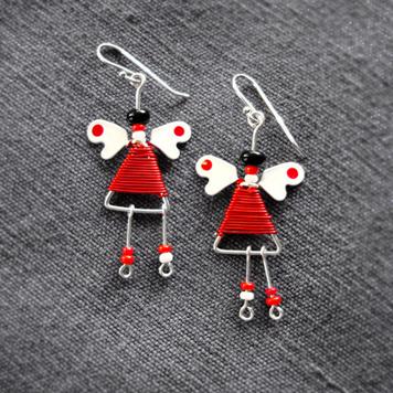 Kolczyki Aniołki Czerwono Białe