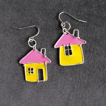 Kolczyki Domki Żółte