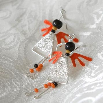 Kolczyki Aniołki Pomarańczowe