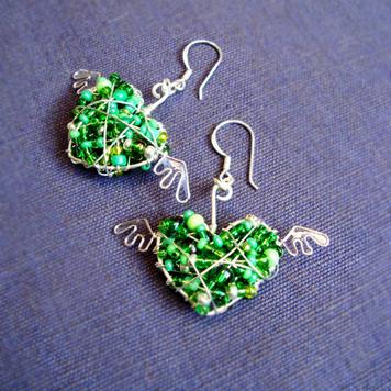Kolczyki Serduszka Zielone