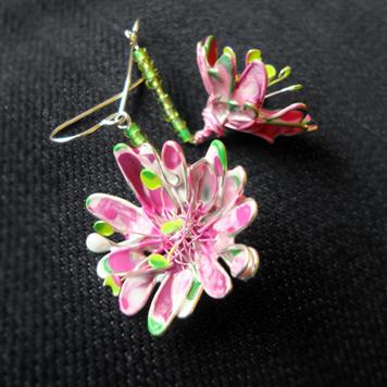 Kolczyki Kwiaty Różowe